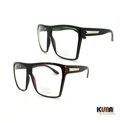 1, 2 Pairs Unisex Super Oversized Flat Top Square Frame Clear Lens Glasses