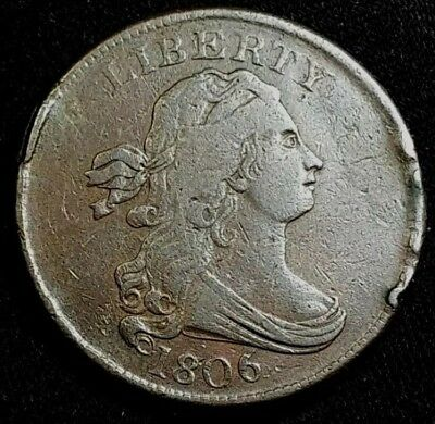 1806 Draped Bust Half Cent, variety stemless small Date Low Mintage 356,000