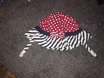 THE CHILDREN'S PLACE Girls Summer HAT RED WHITE &BLUE with strap & bow 2-4 Years