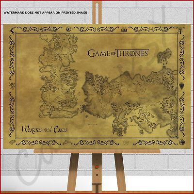 GAME OF THRONES Large Framed Box Canvas Picture Print Poster ... Game Of Thrones Map Framed on game of thrones live map, game of thrones people map, game of thrones books map, game of thrones family map, game of thrones antique map, game of thrones black and white map, game of thrones poster map,