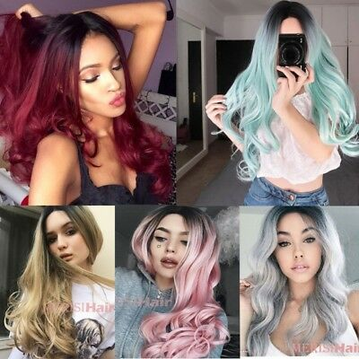 New Womens Cosplay Gradient Long Curly Full Wavy Anime Party Costume Hair Wigs