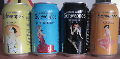 Schweppes GIRLS Complet serie 4 cans limited editon empty