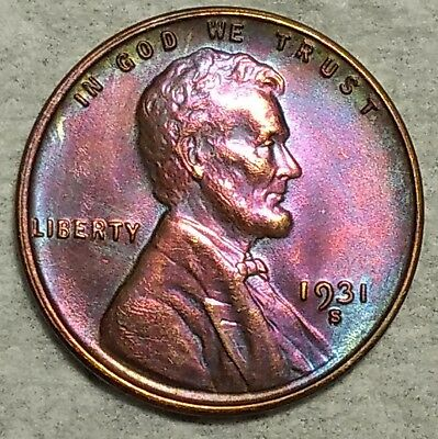 Brilliant Uncirculated 1931-S Lincoln Wheat Cent! Stunningly toned, key date!