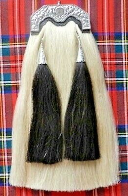 Long Horse Hair Sporran. T shape chrome plated cantle . With Chain Belt.