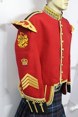 Pipe Major Red Blazer Doublet. Gold Braid white piping. Fancy.