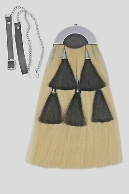 Original Long Horse Hair Sporran.White body with 5 black tassels.With Chain Belt