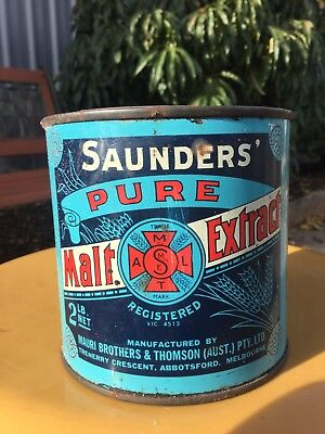 Rare Full Unopened 2lb Pictorial Malt Extract Melbourne Advertising/Grocery/Tin