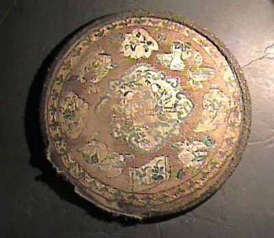 Antique Chinese Qing Dynasty Embroidery Silk Roundel Textile Couched Gold Thread