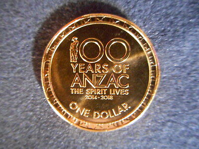 2018 100 Years of Anzac $1 coin from RAM bag Uncirculated