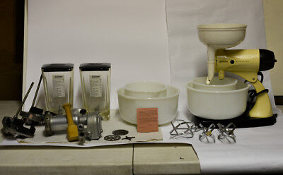 Retro Vintage Sunbeam Mixmaster W/ Meat Grinder Juicer & Bowls12 Speed And More
