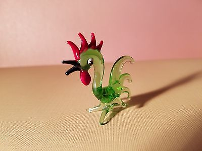 Rooster HAND BLOWN GLASS FIGURINE miniature vintage  pet collectible