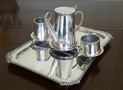 VERY UNUSUAL VINTAGE BATCHELOR SILVER PLATED 4 PIECE COFFEE SET  Maker G.W.S