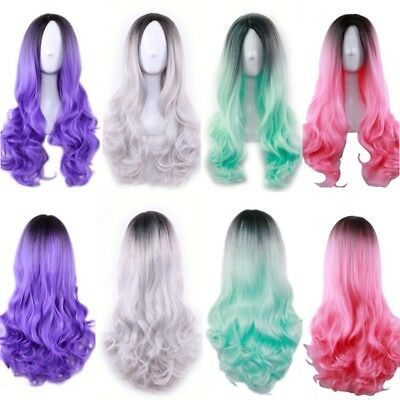 Womens Wigs Lady Gradient Cosplay Curly Full Wavy Anime Party Costume Hair Wig