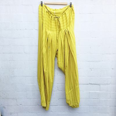 Vintage 90's Indian Style Drape Harem Pants Yellow Blue Stripe Drawstring Large