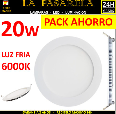 Downlight Panel Led Redondo 20W Packs 5/10/15/20 Und Plafon Blanco Luz 3/4/6K