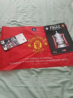 fa cup final flag, ticket and programme