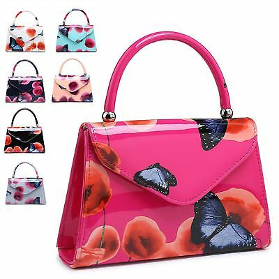 Ladies Patent Floral Top Handle Clutch Bag Poppy Butterfly Handbag MA34871-1