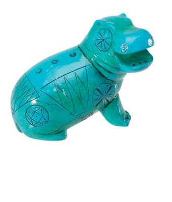 Egyptian Blue Hippo Miniature Statue Collection