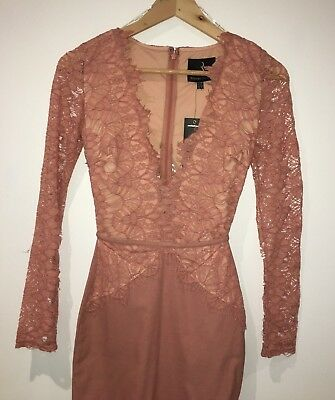 Women's brand new never worn asos lace formal dress blush pink size x-small midi