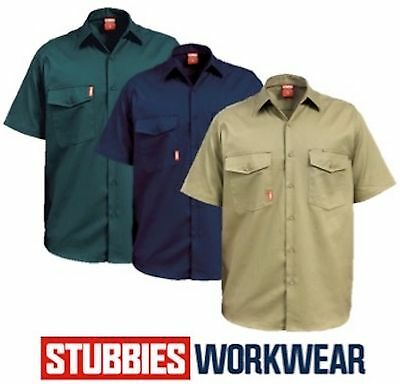 STUBBIES MENS 190gsm DRILL OPEN FRONT WORK SHIRTS SHORT SLEEVE BW2300