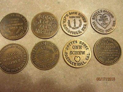 Lot Of (8)  Solid Brass Brothel Cat House Tokens! Two-Sided All Different!