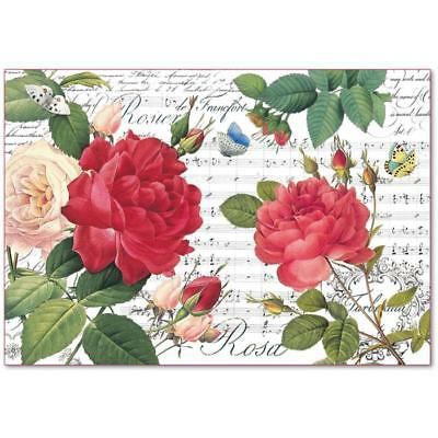 1 Blatt Decoupage Strohseide DFS397 Red roses and music