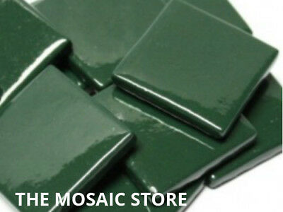 Dark Green Gloss Glass Tiles 2.5cm - Mosaic Tiles Art Craft Supplies