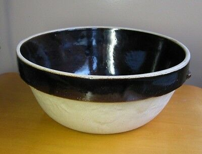 Vintage 1930's Brown Stoneware Mixing Bowl Cook Rite Embossed Fruit Leaf Pottery