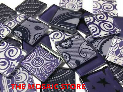 Handmade Purple Mosaic Glass Tiles 2.5cm - Art & Craft Supplies