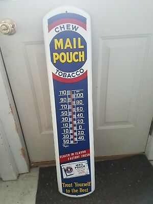 Vintage Chew Mail Pouch Tobacco Metal Advertising Thermometer Sign