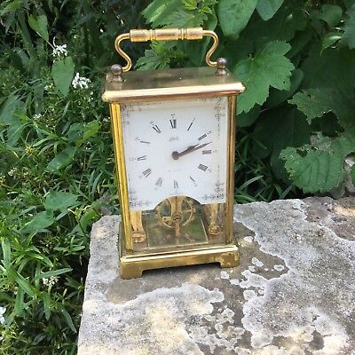 Schatz Brass Skeleton Carriage Clock, Brass Mantle Clock, 8 Day Brass Clock