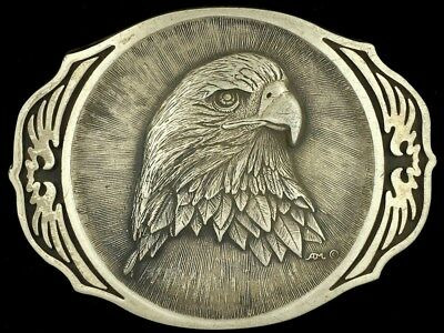 Vtg American Bald Eagle Bird Animal America Patriotic USA Brass Belt Buckle