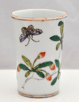 Late C19th CHINESE Export Famille Rose Flora & Butterflies BRUSH POT