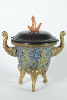 Fine Antique Chinese Cloisonné Tri-pod Censer w Rosewood Cover Coral Finial