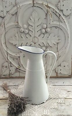 Antique French White Enamelware Body Pitcher With Blue Trim