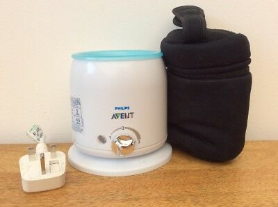 Avent Bottle/food Warmer With Black Thermal Bottle Carry Bag