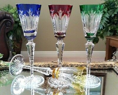 FABERGE Set of (4) Grand Palais Multi Color Crystal Sherry Cordial Wine Glasses