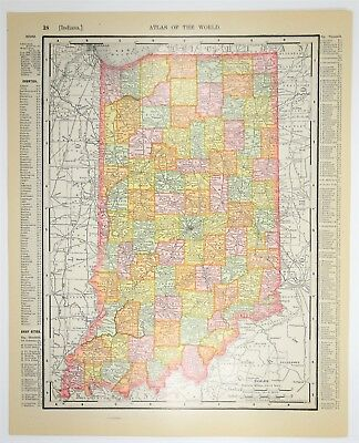 1909 Antique Indiana Map - Vintage IN US State Print - Old History - Art