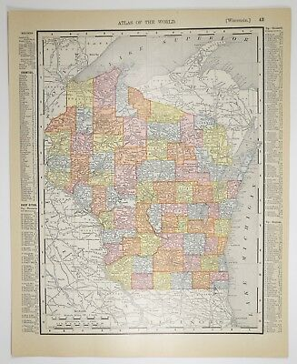 1909 Antique Wisconsin Map - Vintage WI US State Print - Old History - Art