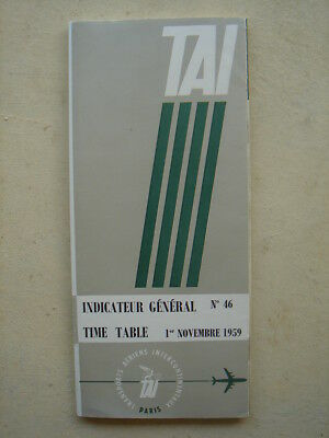 TAI FRENCH AIRLINES 1959 brochure time table french english text