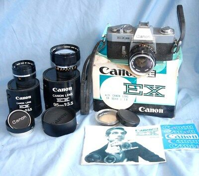 #p1 A Vintage Canon Ee Ex Camera With 50Mm, 35Mm And 95Mm Lenses