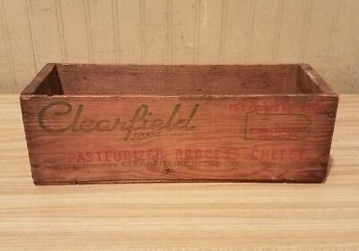 Vintage Clearfield Brand Cheese Wood Box Pennsylvania Anvertisment