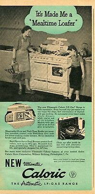 1948 Print Ad of Caloric Ultramatic LP-Gas Stove Oven mealtime loafer
