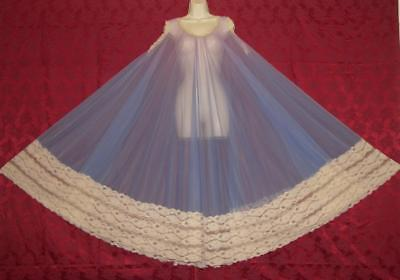 Stunning Vtg Intime Lavender/periwinkle Chiffon Lace Nightgown