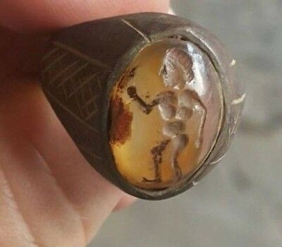 Antiquities Antique Very Old  Knight Warrior Intaglio Yellow Agate Bronze Ring