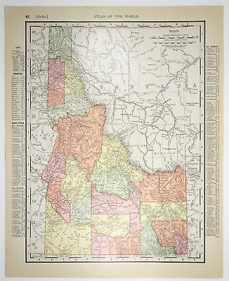 1909 Antique Idaho Map - Vintage ID Map - Old US State Art - History Art Print