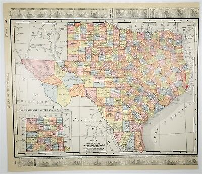 1909 Antique Texas Map - Vintage TX Map - Old US State Art - History Art Print