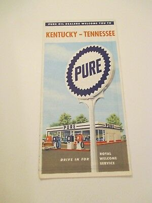 Vintage PURE Kentucky Tennessee State Travel Oil Gas Station Road Map~1956 Est.