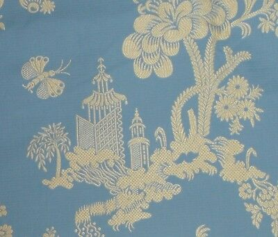 SCALAMANDRE MEI LING Blue Yellow Chinoiserie Fabric Remnant