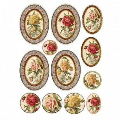 1 Blatt DIN A4 Decoupage Strohseide DFSA4083 tags with ancient roses Stamperia